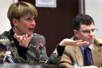 Wendy Dixon of DOE fields questions at EIS public hearing