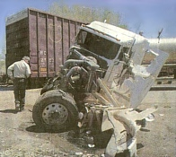 Remains of the truck's cab after being hit by the train